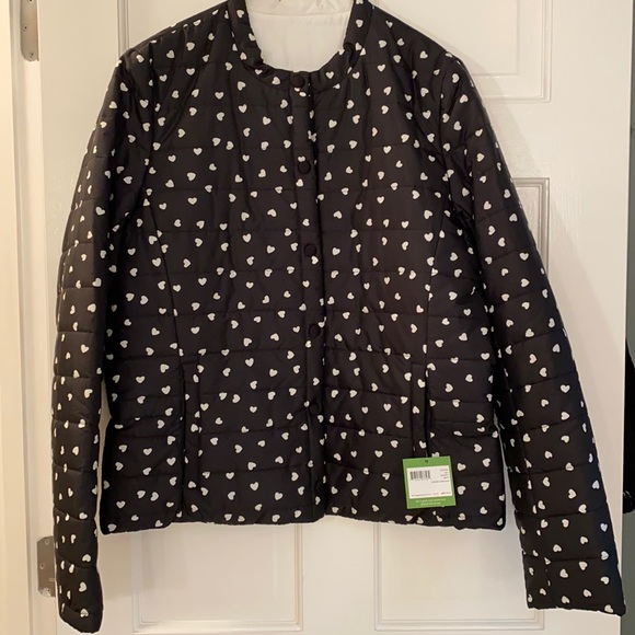 Kate Spade Reversible Quilted Jacket W/Hearts Sz L